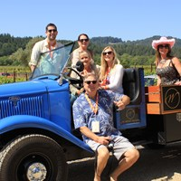 Visitors In Winery Truck